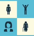 people icons set collection of old woman female vector image