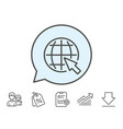globe with mouse cursor line icon world sign vector image