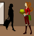 shopping woman vector image vector image