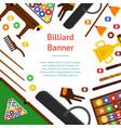 billiard game equipment banner card vector image