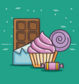 delicious and colorful sweets design vector image
