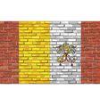 Flag of Vatican City on brick wall vector image