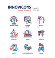 game genres - line design icons set vector image