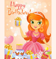 happy birthday princess greeting card vector image