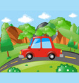 red car riding on the road vector image