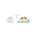 Bigger and smaller home difference concept vector image
