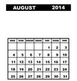 August calendar 2014 vector image vector image