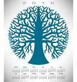 2016 round blue tree calendar vector image