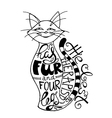 hand drawn lettering with cat silhouette vector image
