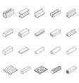 Metal Icon Thin Line Set vector image