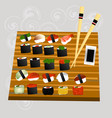 sushi set sea food maki and rolls japanes vector image