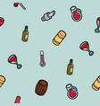 wine outline color isometric pattern vector image