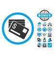 Bank Cards Flat Icon with Bonus vector image
