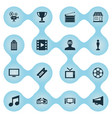 set of simple film icons vector image