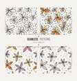 set of seamless doodle floral patterns vector image