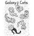 outline print with cats in space coloring vector image