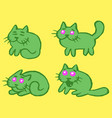 green cats emoticons set isolated vector image