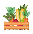 colorful silhouette of wooden box with vegetables vector image