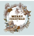 Ghristmas round frame with owls spruce and fir vector image