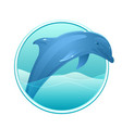 a dolphin and sea in the circle for logos vector image