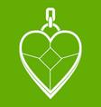 heart shaped pendant icon green vector image
