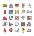 hotel and travel colored icons set 1 vector image