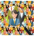 Men in crowd under magnifying glass flat vector image