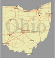 ohio detailed exact detailed state map with vector image