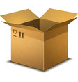 Realistic open cardboard box with parcel post vector image