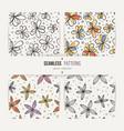 set of seamless doodle floral patterns vector image