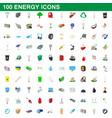 100 energy icons set cartoon style vector image
