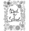 Back to school background black and white vector image