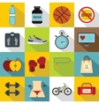 Healthy life icons set flat style vector image