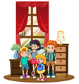 Boys and girls in the room vector image vector image