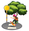 A female skateboarder at the street vector image vector image