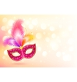 Pink carnival mask with colorful feathers banner vector image vector image