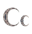 Low poly letter C in brown mosaic polygon vector image