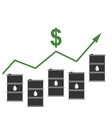 Oil Prices Up Black Barrels and Graph Growth vector image