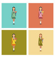 assembly flat icons schoolgirl flowers vector image