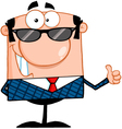 Business Manager With Sunglasses Showing Thumbs Up vector image