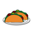 color image cartoon tacos on plate mexican food in vector image