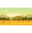 Countryside landscape with haystacks on fields vector image