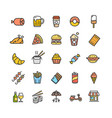 fastfood and street food color thin line icon set vector image