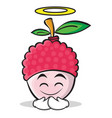 innocent face lychee cartoon character style vector image