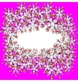 Pink frame with futuristic flowers vector image