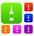 wine bottle set color collection vector image