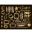 Gold design elements set Brush strokes and vector image