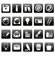 Office icons on black squares vector image