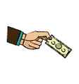 hand business man holding banknote money image vector image