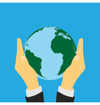 earth in hands vector image